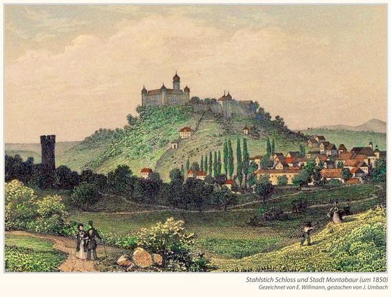 Stahlstich Schloss und Stadt Montabaur (um 1850)